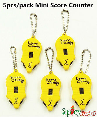 5pcs Spicybuys Counter Key Chain Mini Key Chains Two Dial Golf Score Keeper