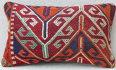 12''X 20'' Livingroom Pillow Cover,Pillow made with Vintage Kilim Embroidery Rug
