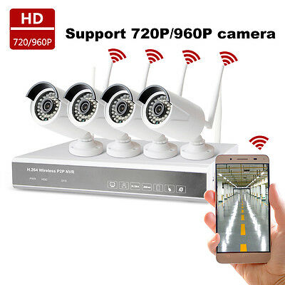4CH NVR 720P HD IP Network PoE IR Outdoor CCTV Home Security Camera System