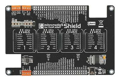 MCU/MPU/DSC/DSP/FPGA Development Kits - ADD-ON BOARD MIKROMEDIA 5 SHIELD