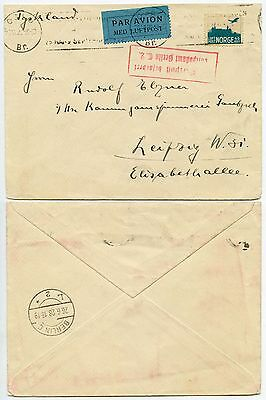 NORWAY 1928 AIRMAIL 45 ore SINGLE FRANKING to GERMANY