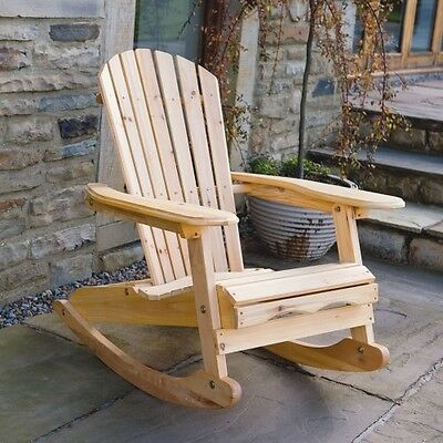 Wooden Rocking Chair Relaxing Swivel Retro Armchair Wood Garden Chairs Furniture