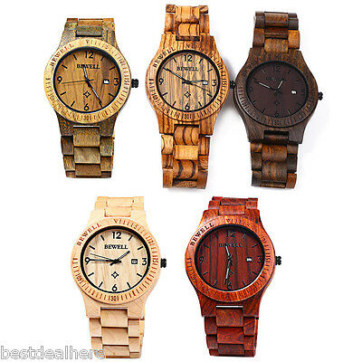 Bewell Men's Wood Wristwatch Watch Japan quartz Analog Quartz Date Wrist watches