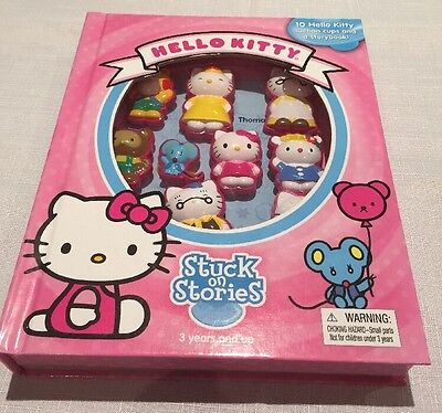 Hello Kitty 10 Suction Cups + Story Book Pink New In Box