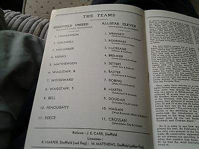 Sheffield Utd v All star xi 1966 Cec Coldwell Testimonial