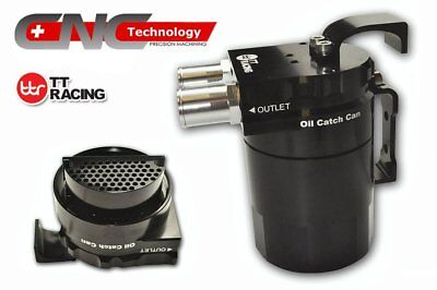 0.5L Double Baffled Oil Catch Can Tank Resevoir Closed loop Black 19mm & 15mm