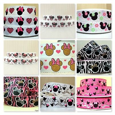 Grosgrain Ribbon - 7/8 & 1 Inch - 22 & 25 mm - Print by the Metre - Minnie Mouse