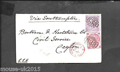 GB 1871 9d RATE COVER TO CEYLON  PINNER SINGLE RING MR /3 / 71