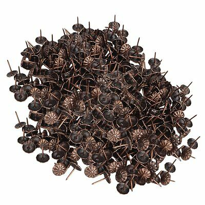 500pcs Red Bronze Vintage Upholstery Tacks Studs Pins Home Decoration 11x16mm