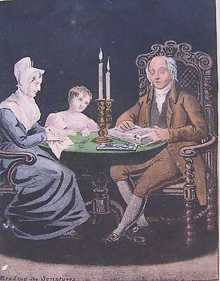 19th CENTURY, Couloured Print, 'READING THE SCRIPTURES'