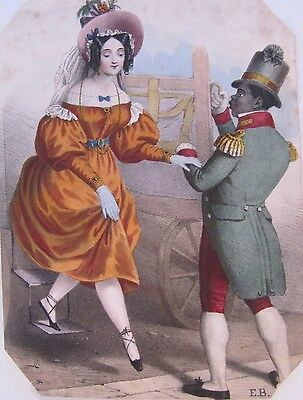 19th CENTURY, Coloured Print, A LADY WITH HER SERVANT