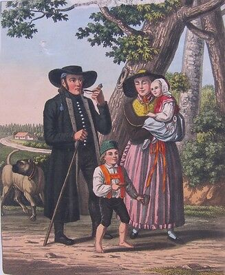 19th CENTURY, Coloured Print, A CONTINENTAL FAMILY