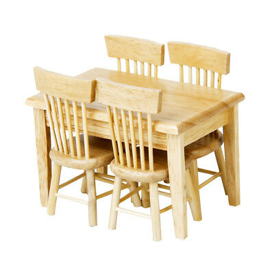 Dolls House Miniature Dining Room Furniture Wooden Table 4 Chairs Set- Wood