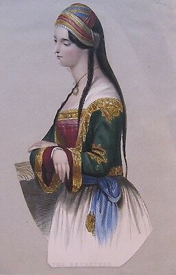 19th CENTURY, A Page from a Scrap Album, CUT-OUT COLOURED PRINT, 'The Betrothed'