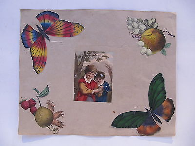 19th CENTURY, A Page from a Scrap Album, CUT-OUT COLOURED PRINTS, etc...