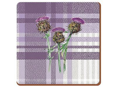 Set of 6 Thistle Premium Cork-Backed Coasters