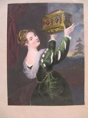 19th CENTURY, A Page from a Scrap Album, COLOURED PRINT OF LADY, & APPLES verso