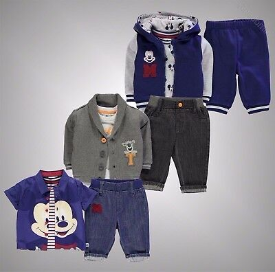 Babies Boys Girls Character T Shirt Bottoms Jacket 3 Piece Set Size 0-24 Mnth