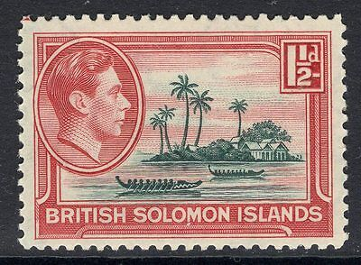 BRITISH SOLOMON IS. SG62 1939 1½d BLUE-GREEN & CARMINE MTD MINT
