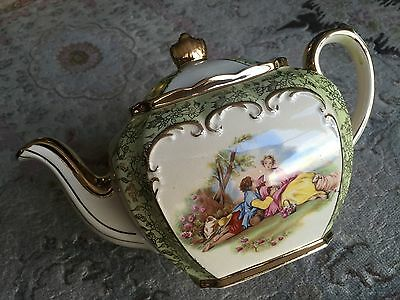 Antique Gold Gilded Sadler Cube English Bone China Teapot In Superb Condition