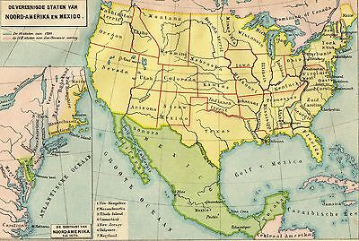 Antique map United States of America USA and Mexico 1897