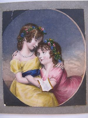 19th CENTURY, A (partially) Hand Coloured Print, TWO GIRLS EMBRACING