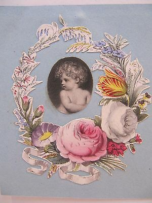 19th CENTURY, Cut-Out Coloured Print, CHILD WITH RING OF FOWERS