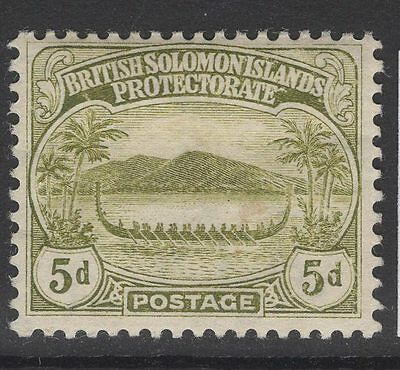 BRITISH SOLOMON IS. SG12 1908 5d OLIVE MTD MINT