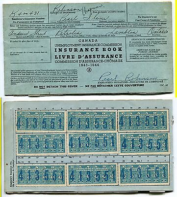 RARE 1943-1944 Unemployment Insurance Booklet with #FU5 x13! (Lot #U4)