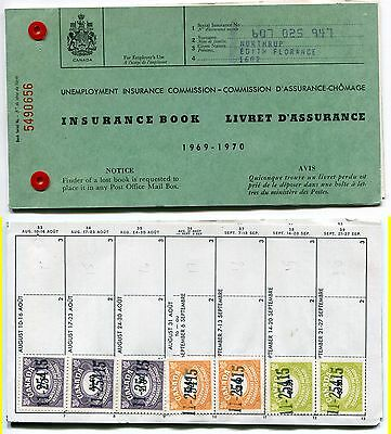 Seldom Seen! - - 1969-1970 Unemployment Insurance Booklet with Stamps (Lot #U9)