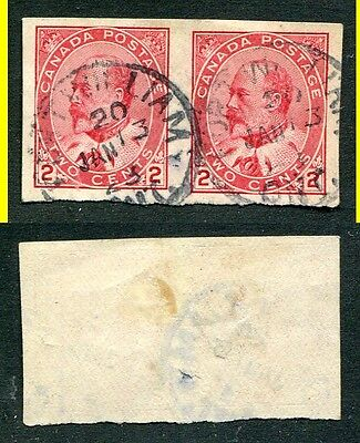Used Canada 2 Cent King Edward Imperforate Pair #90a (Lot #4812)