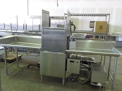Hobart commercial dish washer with water booster and clean and soil side tables