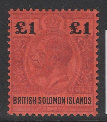 British Solomon Is. Sg38 1914 £1 Purple & Black/red Mtd Mint