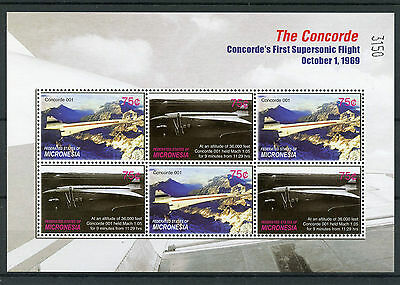 Micronesia 2006 MNH Concorde First Supersonic Flight 6v M/S Aviation Stamps