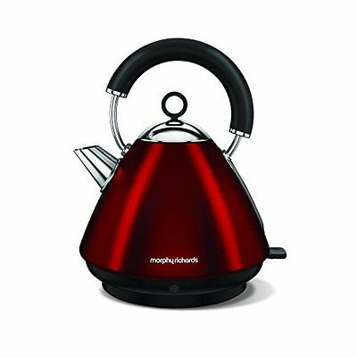 Morphy Richards Accents 1.5L Cordless Stainless Steel Pyramid Kettle Red 102029