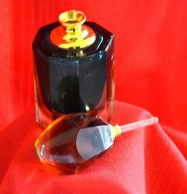 Vtg Perfume  Decanter  With Dauber  - Cristal Glass - Mint!!!