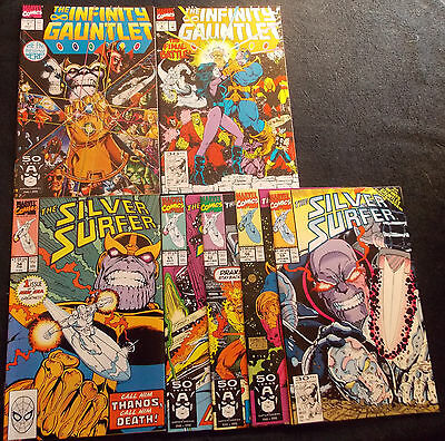 Thanos lot: Infinity Gauntlet #1, 6, Silver Surfer 34,51,52,56.59, New Old Stock