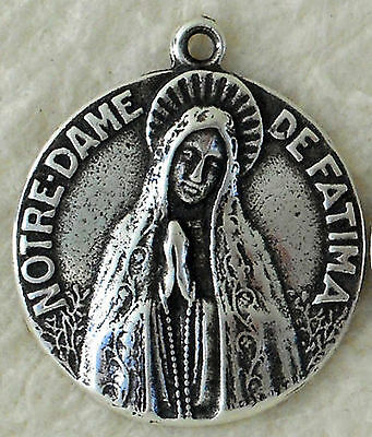 Vintage Catholic Medal Our Lady of Fatima Peace Religious Bronze Sterling 1344