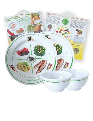 2 Plates & 2 Bowls - Balanced, Visual, Portion Control Weight Loss System for 2