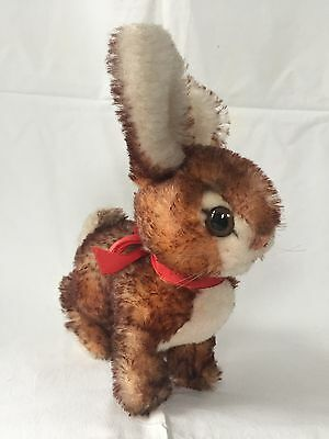 Steiff Rabbit Brown White Mohair Red Bow Ear Button Vintage 8 Inches