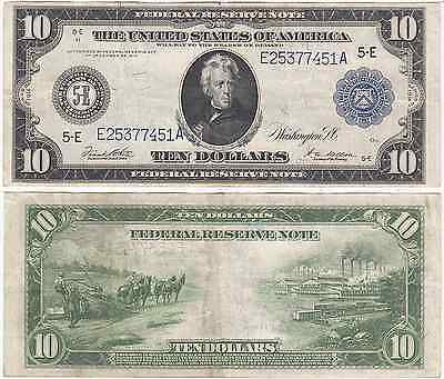 1914 $10 Federal Reserve Note Richmond District FR 923 Very Fine