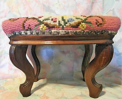 Vintage Antique Wool Crewelwork Footstool Needlepoint Floral Foot Stool Ottoman