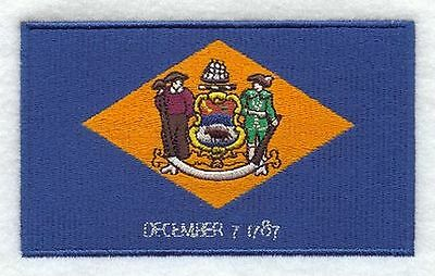 """Delaware State Flag Embroidered Patch 3.3"""" x 2"""""""