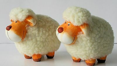 Fuzzy SHEEP Figurines ( set of 2 ) Country Barnyard Farm  NEW !!!