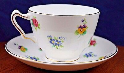 Lovely! Vintage Crown Staffordshire Bone China Tea Cup and Saucer Multi Floral