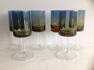 "Rare Vintage set of Six BLUERINA or Blue Amberina Glass Goblets 6 1/4"" tall"