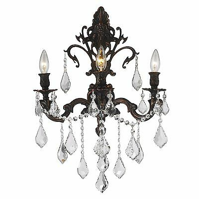 """Versailles 3 Light Flemish Brass Crystal Candle Wall Sconce 17"""" W x 24"""" H Large"""
