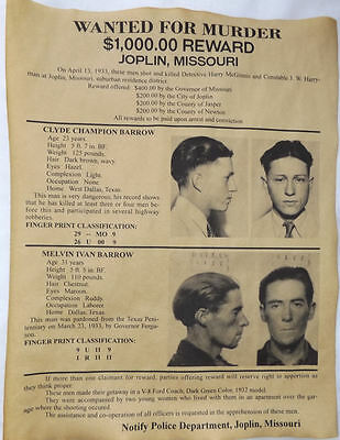 Barrow Brothers Wanted Poster, Clyde, Melvin, Marvin, Bonnie, Buck, murder