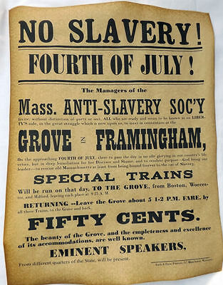 No Slavery 4th of July Convention Poster, 1854, Civil War, Anti, Massachusetts