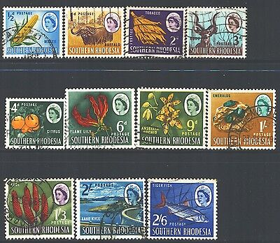 SOUTHERN RHODESIA Sc95-105 SG92-102 Used1964 QEII short set of 11 to 2sh6p SCV$9